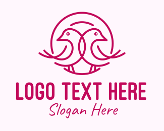 Wedding - Pink Monoline Lovebird  logo design