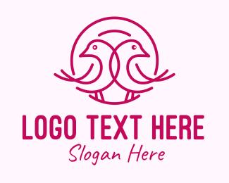 Finch - Pink Monoline Lovebird logo design