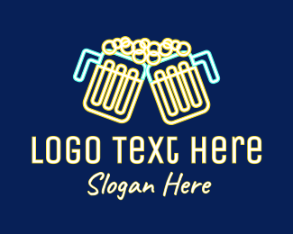 Neon Lights - Neon Beer Pub  logo design