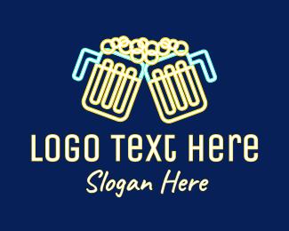 Toast - Neon Beer Pub  logo design
