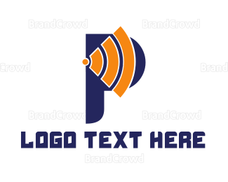 Domain - Wifi Signal P logo design