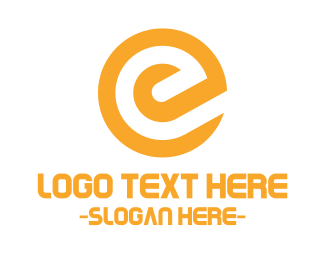 Web Development - Modern Yellow Letter E logo design