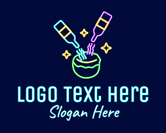 Gin - Neon Coconut Cocktail Drink logo design