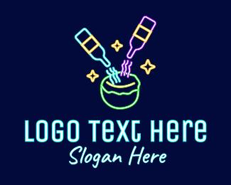 Neon Lights - Neon Coconut Cocktail Drink logo design