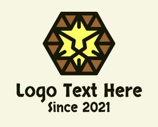 Tribal - Hexagon Tribal Lion logo design