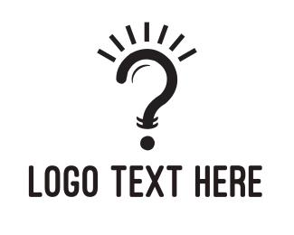 Lightbulb - Question Lamp logo design