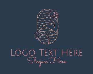 Jungle - Minimalist Flamingo Monoline logo design