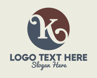 Teahouse - Cursive K Circle Lettermark logo design