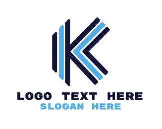 Stripe - Blue Stripe K logo design