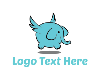 Winged - Flying Elephant  logo design