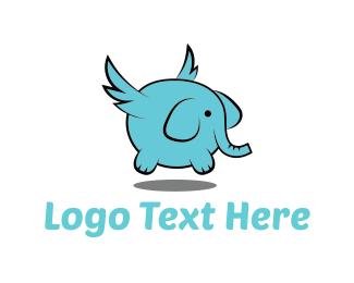 Winged - Flying Elephant  logo design