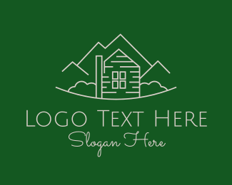 Lodge - Farmhouse Destination Outline logo design