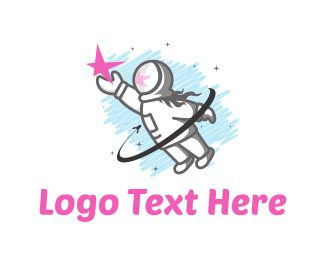 Spacecraft - Astronaut Girl logo design