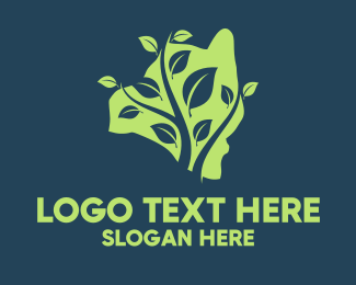Bush - Hawaii Leaf Map logo design