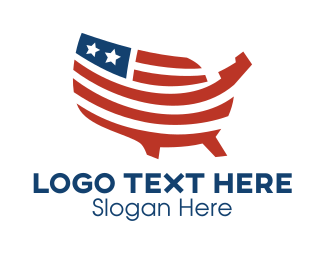 Government - Stars & Stripes USA Map logo design