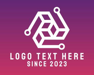Business Solutions - Green Stroke Logistics Cube logo design