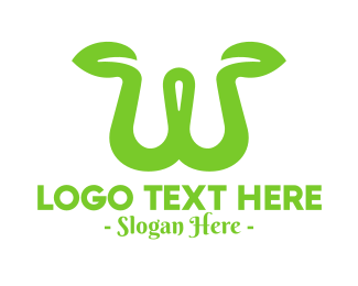 Tea Leaf - Green Sprout Letter W logo design