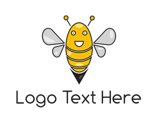 Yellow Insect - Happy Bee logo design