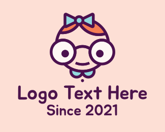 Cartoon - Smart Girl Cartoon logo design