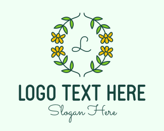 Flower Field - Daffodil Flower Letter logo design