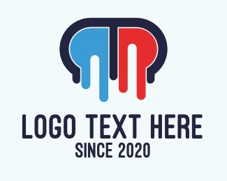 Melting - Melting Medical Pill Letter M logo design