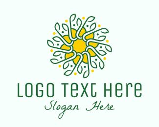 Green And Yellow - Green & Yellow Sunflower Flower logo design