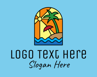 Stained - Beach Resort Mosaic  logo design