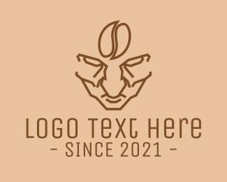 Roasted - Brown Coffee Bean Barista logo design