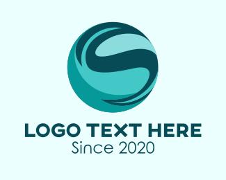 Telco - Blue Letter S Planet logo design