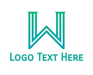 Column - Gradient Pillar W logo design
