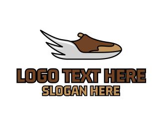 Runner - Wing Running Sneakers logo design