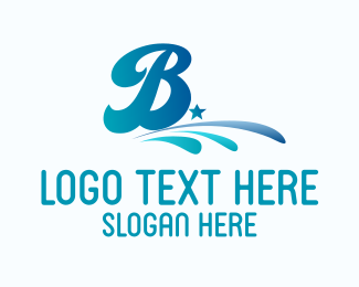 Text - Blue Water Letter B logo design