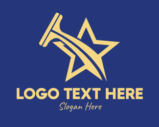 Squilgee - Gold Star Squeegee  logo design