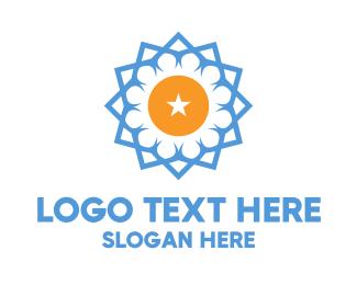 Yellow Star - Blue Star Flower logo design