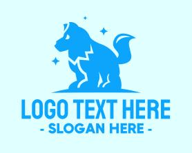 Puppy - Starry Blue Dog Wolf logo design