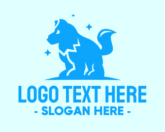 Pet Clinic - Starry Blue Dog Wolf logo design
