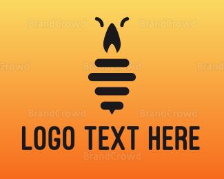 Cockroach - Black Candle Insect logo design