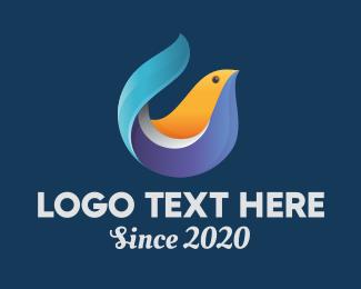 3d - Digital 3D Bird logo design