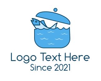 Swimming - Blue Swimming Fish Pot logo design