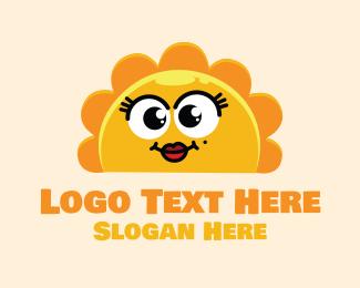Yellow Flower - Cute Sunny Face logo design