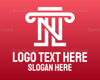 Equilibrium - White Pillar N Monogram logo design
