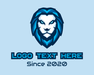 Videogame - Blue Lion Head Mascot logo design
