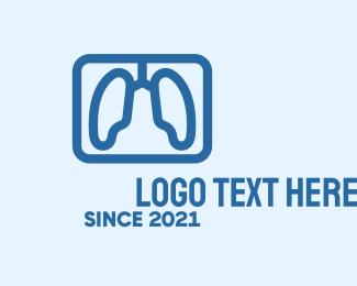 Lung Cancer - Blue Respiratory Lungs logo design