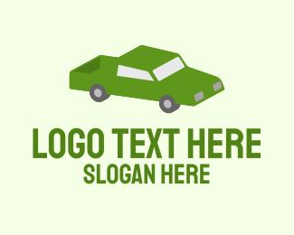 Headlight - Green Isometric Pickup Truck logo design