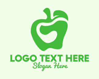 Fruit Market - Green Organic Apple logo design