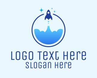 Scientist - Rocket Launch logo design