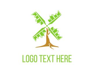 City - City Windmill  logo design