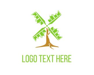 Skyscraper - City Windmill  logo design
