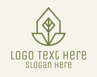 Leaf - Geometric Leaf Badge logo design