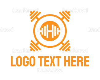 Buff - Dumbbell H  logo design
